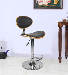 Bar Chair With Chrome Base In Black Colour
