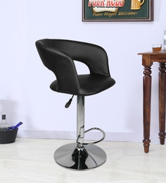 Bar Chair With Chrome Base In Black Leatherette - 1630708