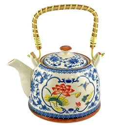 Bar World Blue & White Porcelain 800 ML Teapot With Cane Handle - Set Of 3
