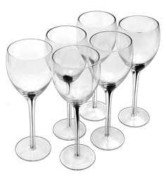 Bar World Fancy Black Glass 360 ML Glasses - Set Of 6