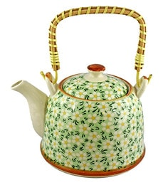 Bar World Green & White Porcelain 800 ML Teapot With Cane Handle - Set Of 3 - 1601933
