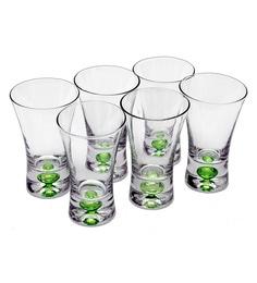 Bar World Green Glass 60 ML Shot Glasses - Set Of 6