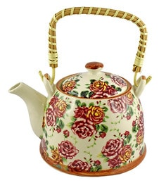 Bar World Multicolour Porcelain 800 ML Teapot With Cane Handle - Set Of 3 - 1601935