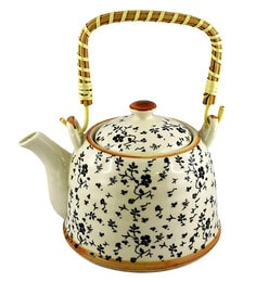 Bar World White & Blue Porcelain 800 ML Teapot With Cane Handle - Set Of 3