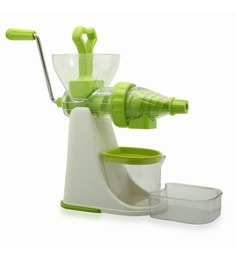 Bartan Shopee Green & White Plastic Fruits & Vegetables Juicer With Steel Handle