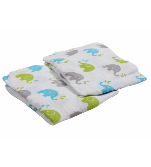 Bacati Multicolour Muslin 52 X 28 Inch Elephants Crib Baby Bedding Set Set Of 2
