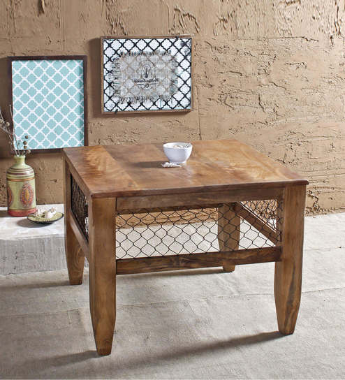 Baroque Natural Mesh Coffee Table In Paintco Teak Finish By Fabuliv