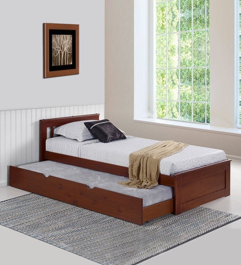 buy basilica solid wood single bed with trundle in natural 17073 | basilica solid wood single bed with trundle in natural pinewood finish by woodsworth basilica solid zanr4v