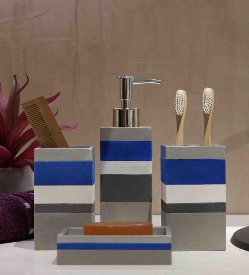 Bathroom Accessories.Polyresin Counter Top Bathroom Accessories In Multi Colour Set Of 4 By Shresmo