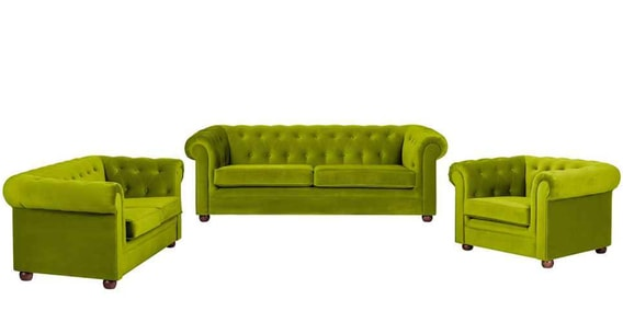 Baudriana 3 2 1 Sofa Set In Green Color By Madesos
