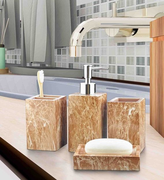 Buy Brown Polyresin Counter Top Bathroom Accessories Set Of 4 By Shresmo Online Accessory Sets Accessory Sets Discontinued Pepperfry Product