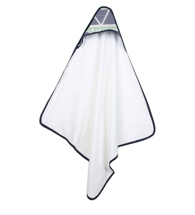 Aztec Mint Navy Large Triangles Hooded Towel by Bacati