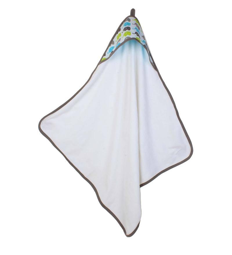 Elephants Aqua Lime Hooded Towel by Bacati