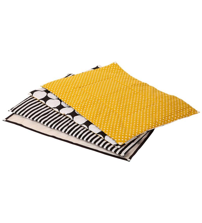 Black Dots Yellow Black 4 pc Sheet Set by Bacati