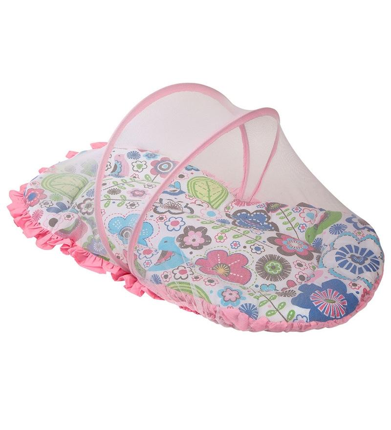 Bacati Botanical Pink Cotton Small Net with Mattress