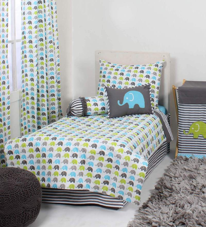 Elephant Aqua lime Grey 4 Piece Toddler Bedding Set by Bacati