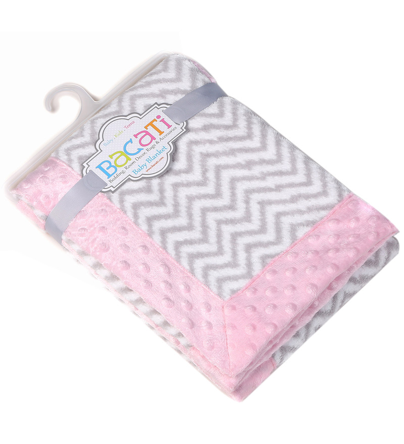 Grey ZigZag with Pink Border Baby Blanket by Bacati