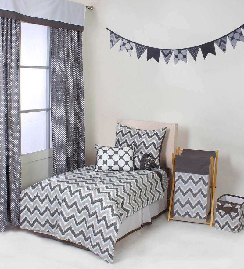 Mix N Match Grey Zigzag 4 Piece Toddler Bedding Set by Bacati
