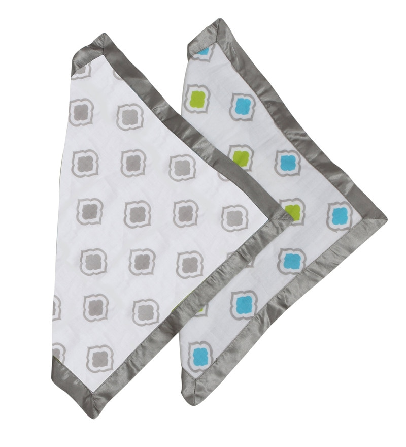 Moroccan Tiles Muslin Security Blankets in Aqua Lime & Grey (Set Of 2) by Bacati