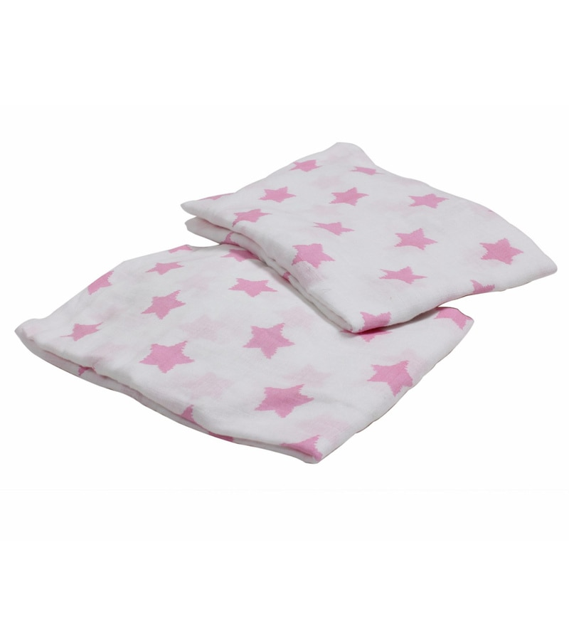 Bacati Multicolour Muslin 52 x 28 Inch Stars Ikat Crib Baby Bedding Set - Set of 2