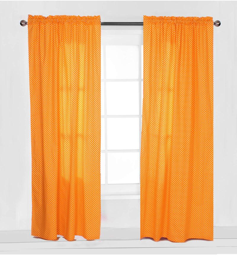 Orange Pin Dots Curtain Panel Door Set of 2 pcs by Bacati