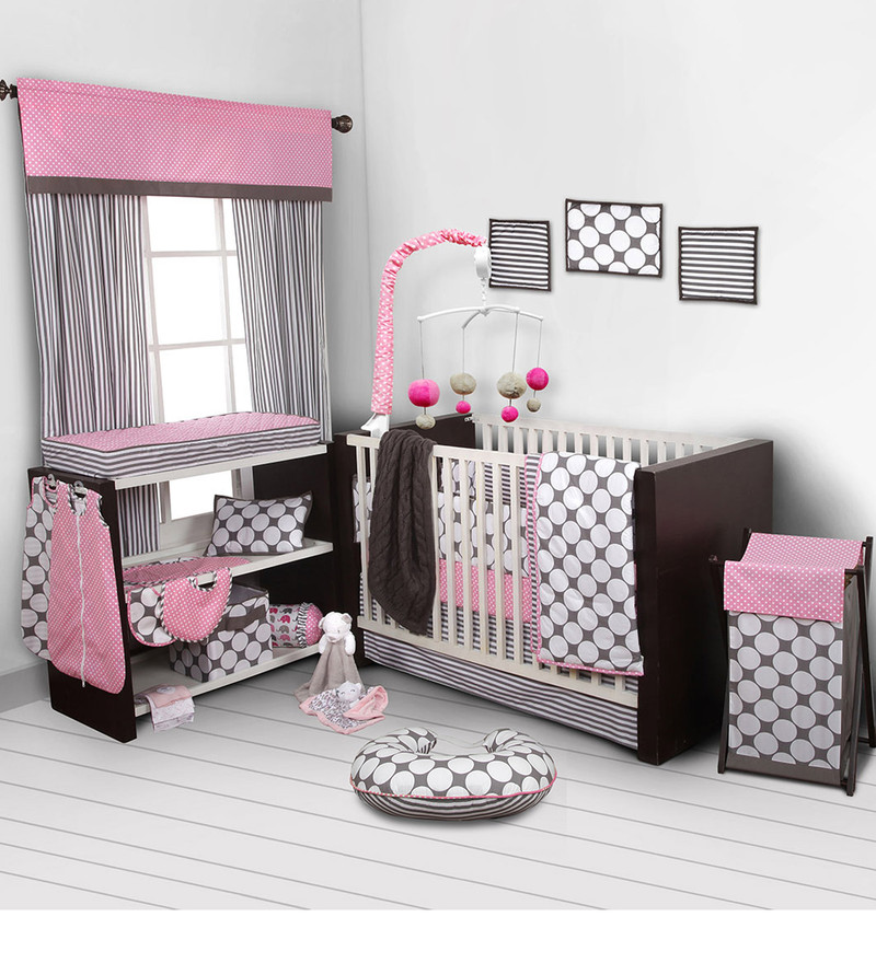 Pink Pin Dots Grey 10 CS Crib Set by Bacati