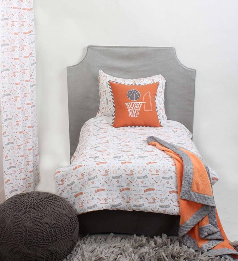 Sport Muslin Orange Grey Basketball 4Piece Toddler Bedding Set by Bacati