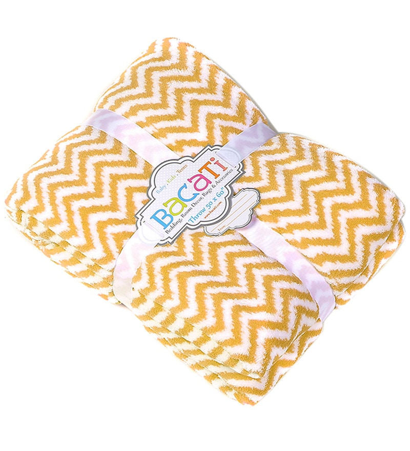 Bacati Yellow ZigZag Baby Throw