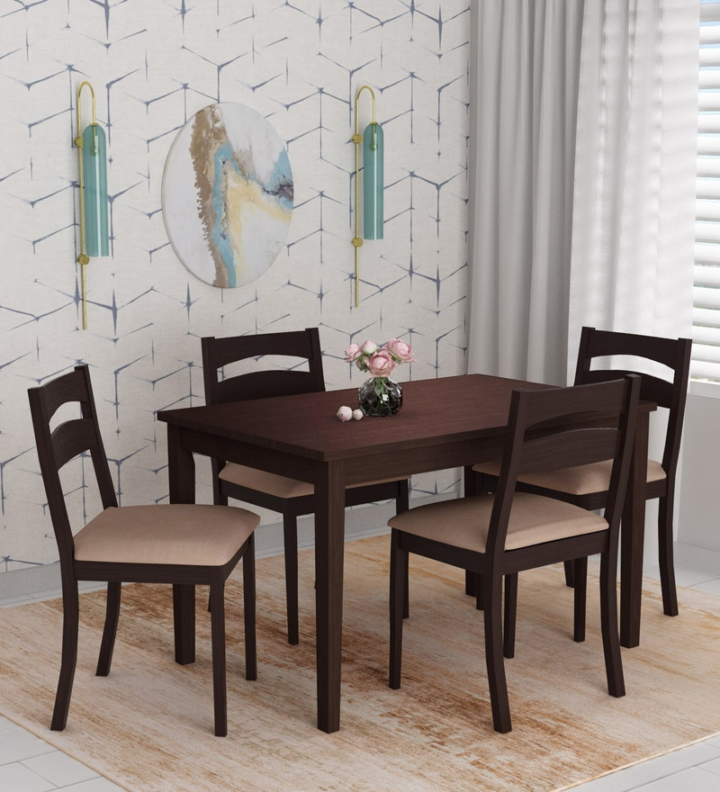 Buy Bahamas 4 Seater Dining Set In Espresso Finish By Nilkamal Online Modern 4 Seater Dining Sets Dining Furniture Pepperfry Product