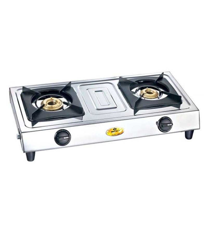 buy bajaj popular eco 2 stainless steel 2 burners gas stove online gas stoves gas stoves. Black Bedroom Furniture Sets. Home Design Ideas