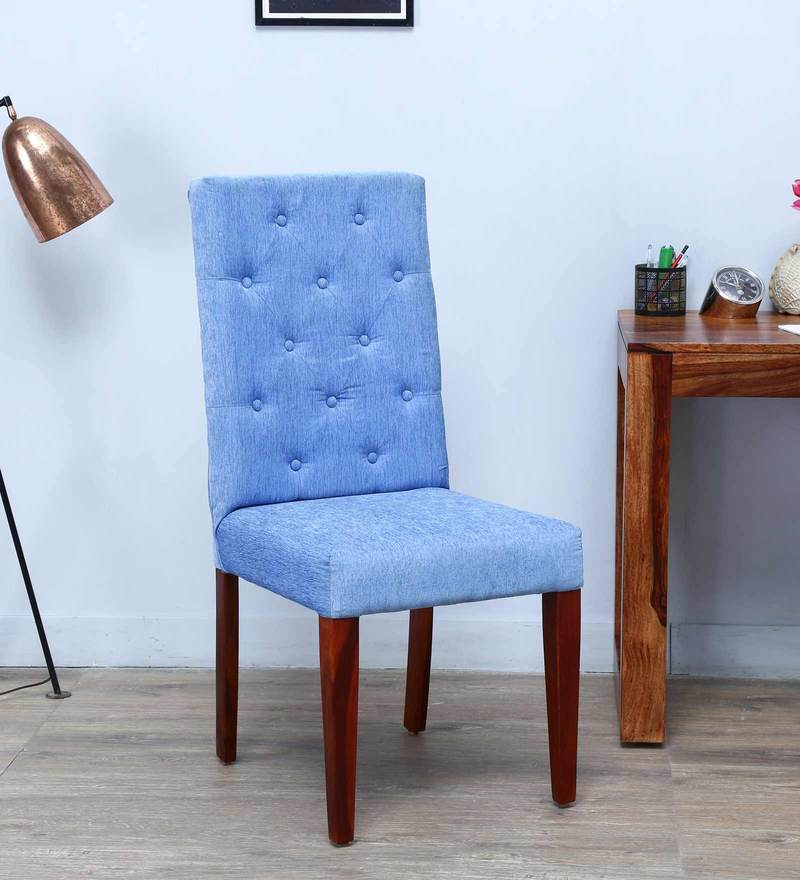 Ballans Button Dining Chair in Ocean Blue Color by Amberville