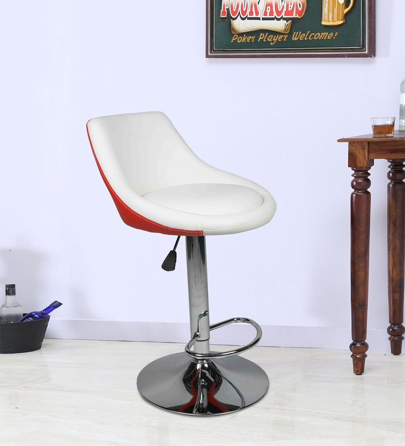 Superb Bar Stool With Chrome Base In White Red Leatherette By Ventura Pdpeps Interior Chair Design Pdpepsorg