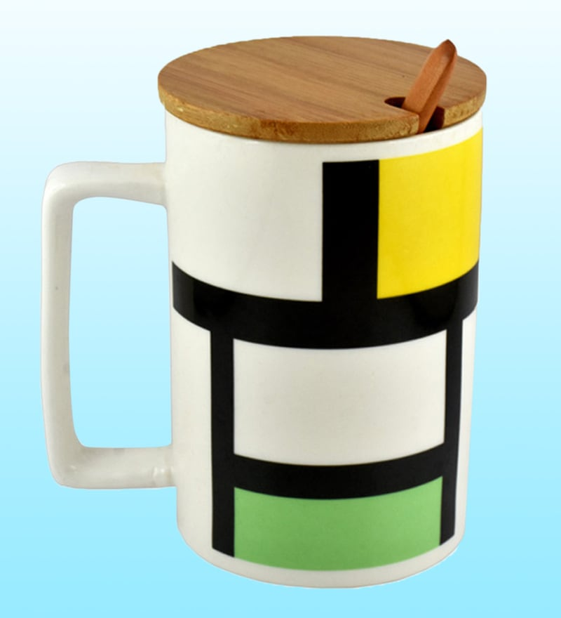 Bar World Abstract Ceramic & Wood 420 ML Mug