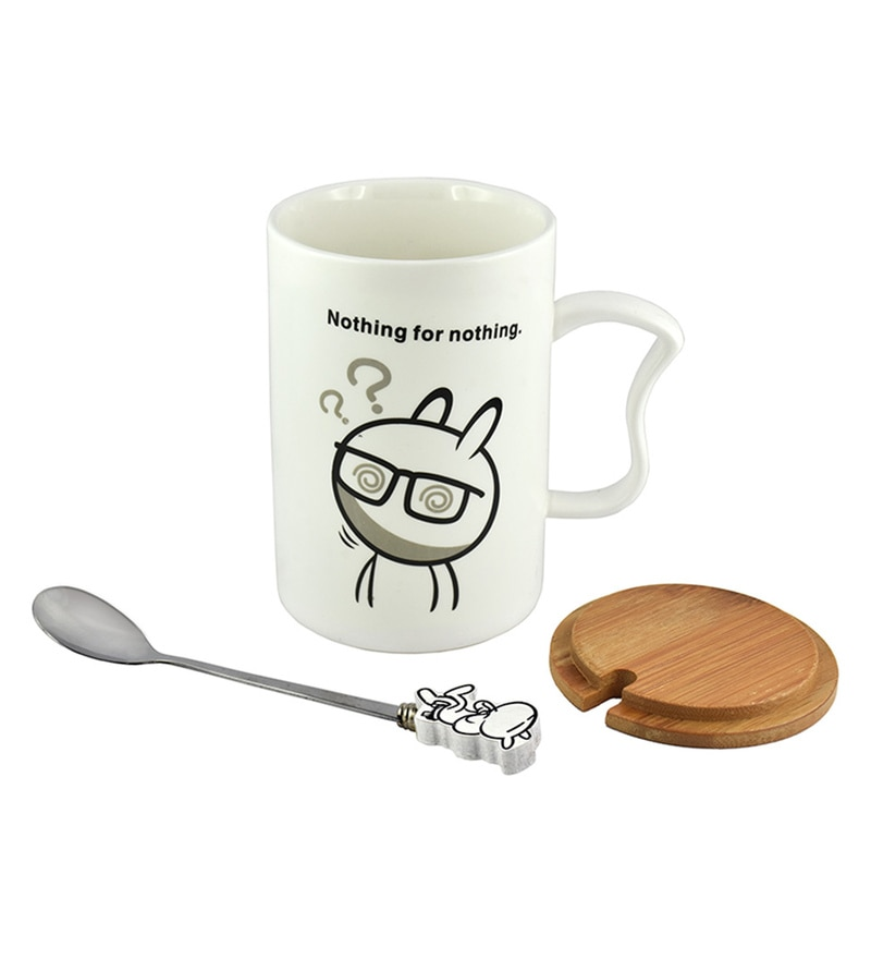Bar World Cartoon Quote Ceramic & Wood 400 ML Mug