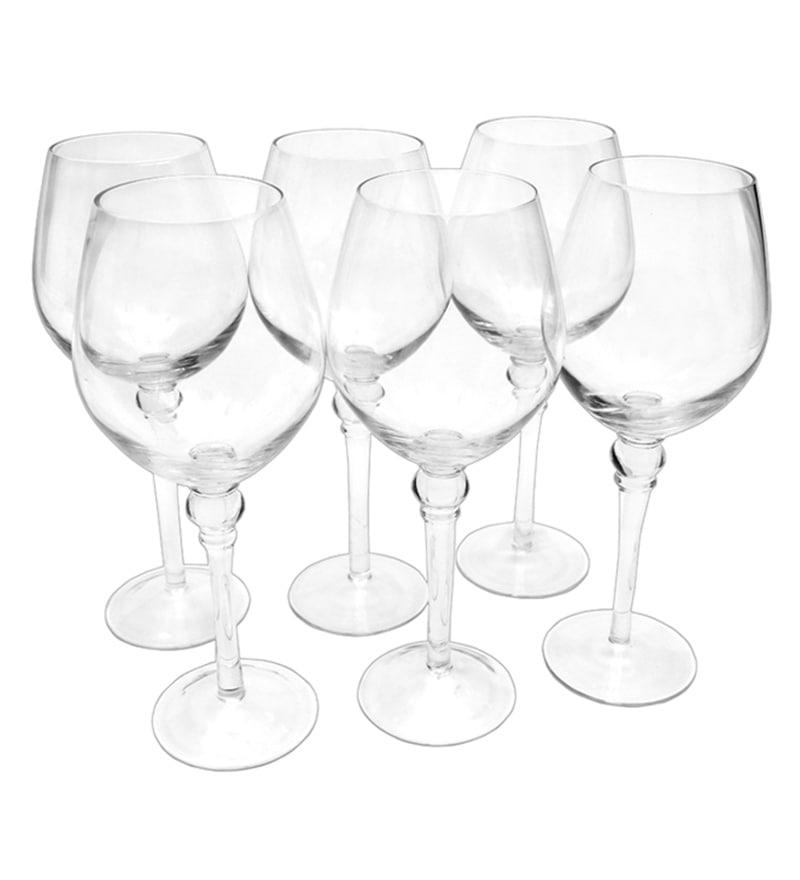 Bar World Fancy Transparent Glass 450 ML Glasses - Set of 6