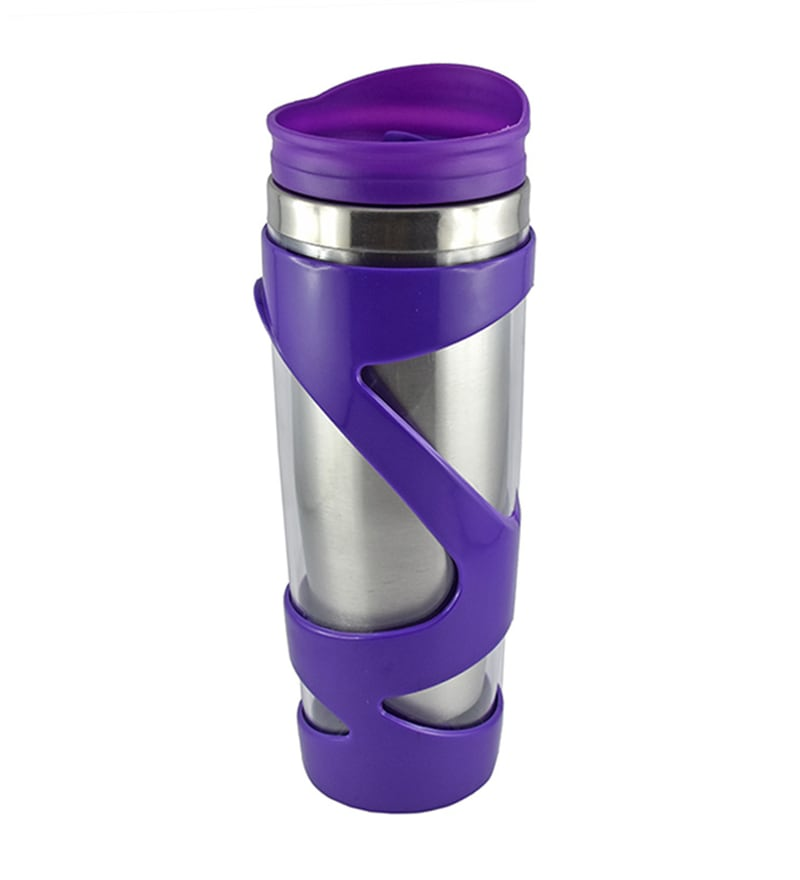 Bar World Metallic & Purple Stainless Steel & Plastic 500 ML Vacuum Flask