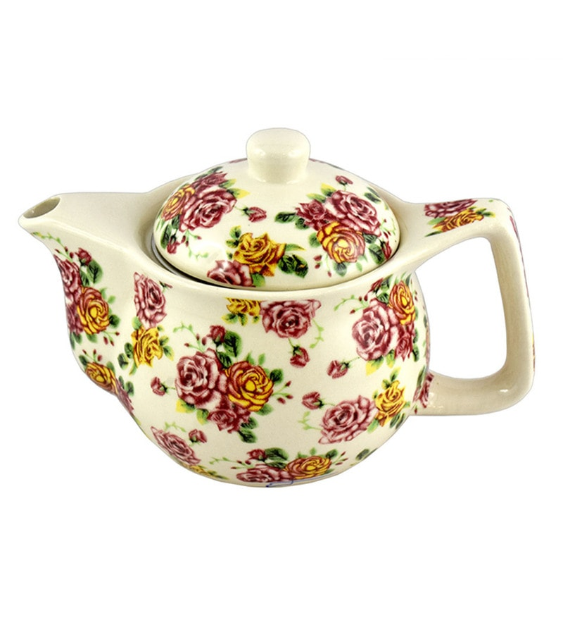 Bar World Multicolour Porcelain 350 ML Teapot - Set of 3