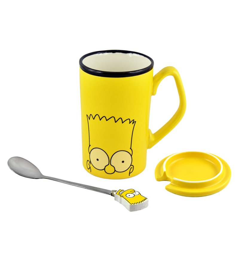 Bar World Simpsons Ceramic & Stainless Steel 380 ML Mug - Set of 3