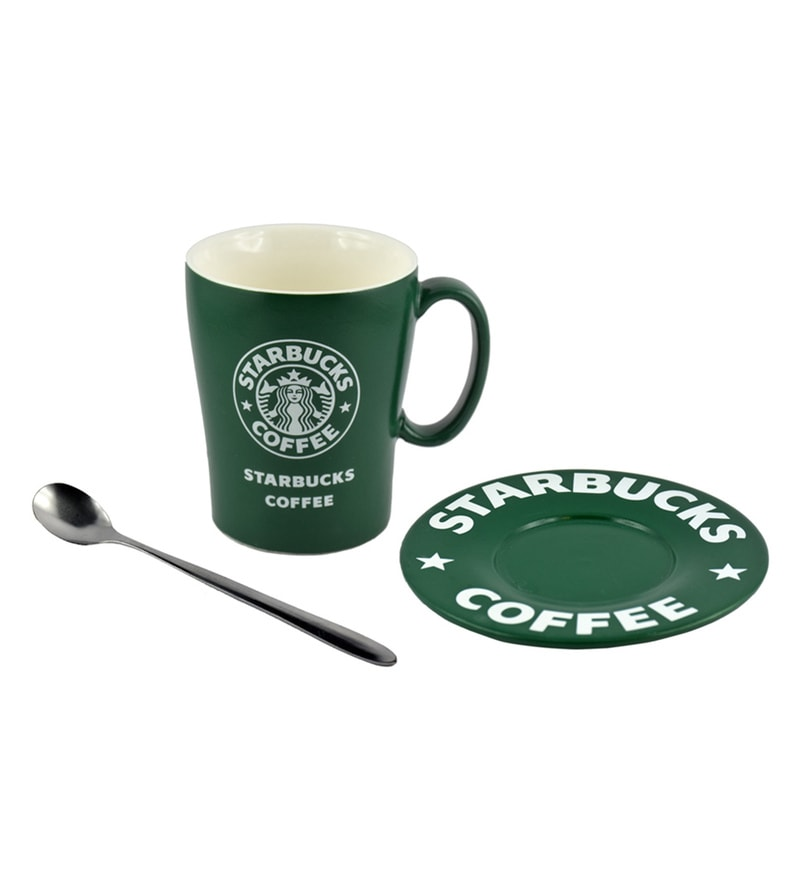 Bar World Starbucks Ceramic & Plastic 180 ML Mug - Set of 3