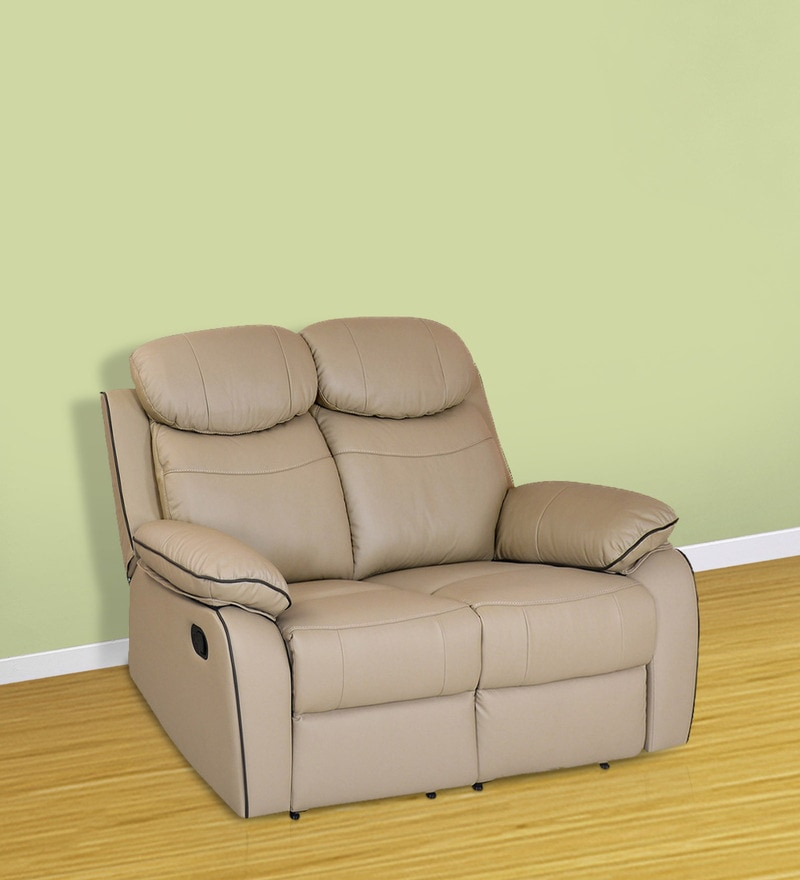 Barbados Two Seater Recliner Chair in Beige Colour by @Home
