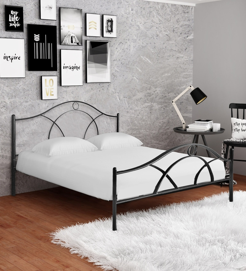 Buy Bari Metallic King Size Bed in Black Colour by FurnitureKraft ...