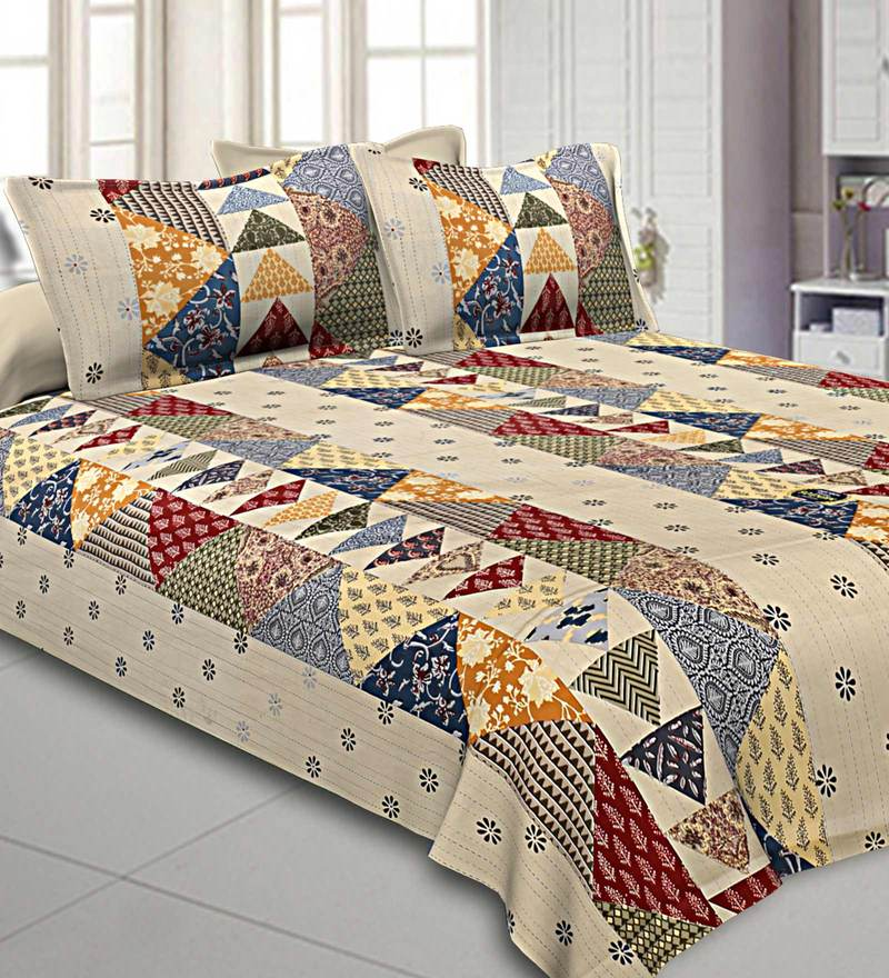 Buy Barmeri Cotton 240tc King Size Bedsheet With 2 Pillow Covers