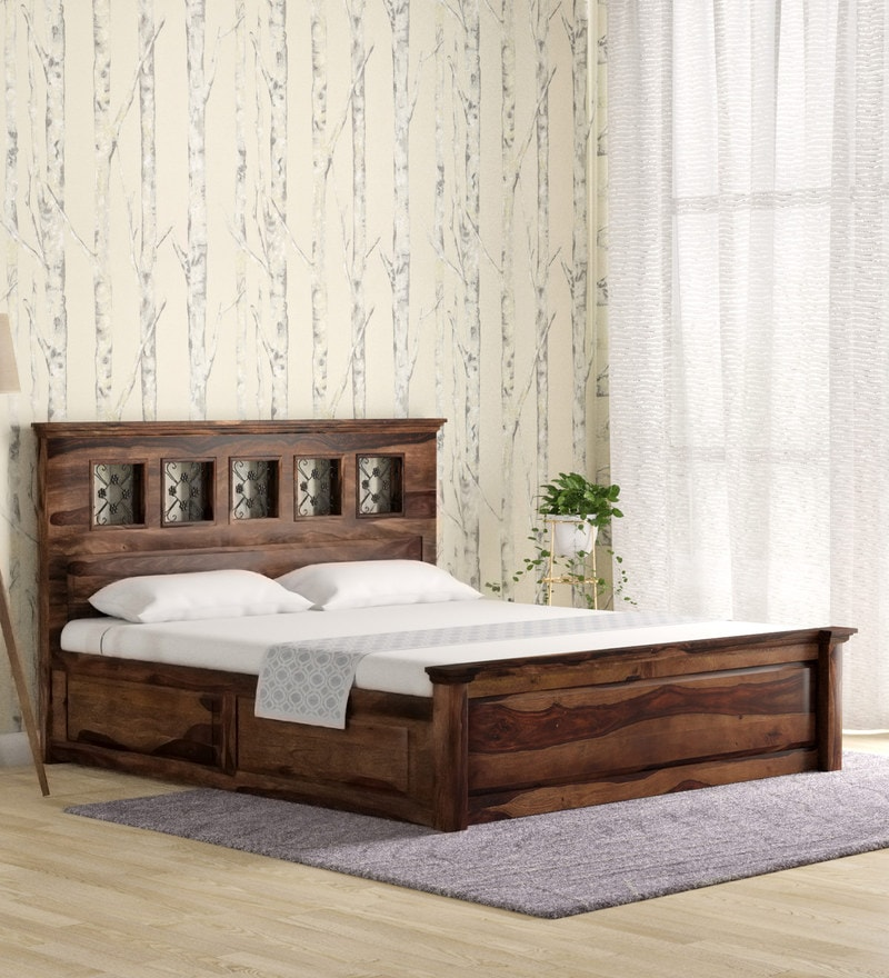 Buy Barryl King Size Bed With Storage In Provincial Teak Finish By