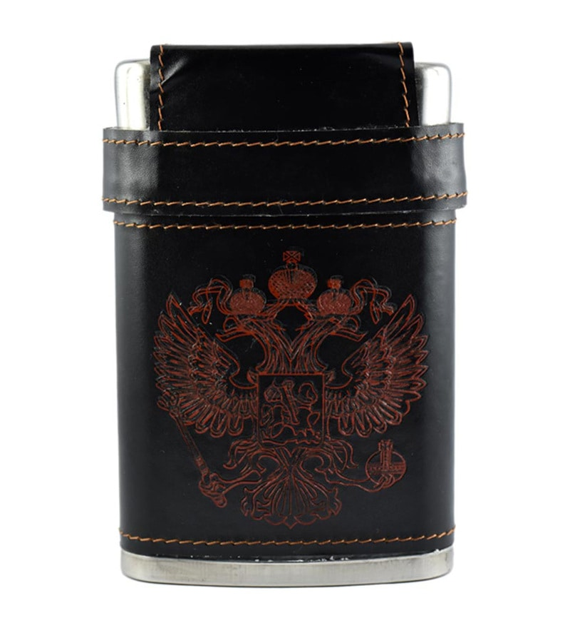 Bar World Hip Flask Set with 3 Shot Glasses