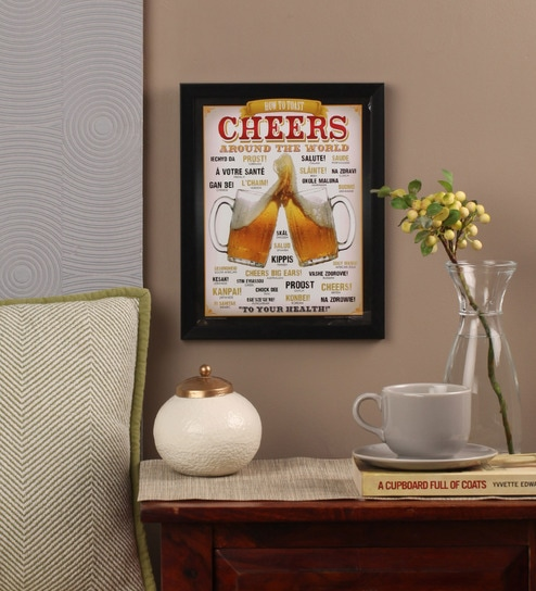 Glass, Fibre & Paper 8 x 1 x 12 Inch Cheers Around The World Beer Officially Licensed Framed Poster by bCreative
