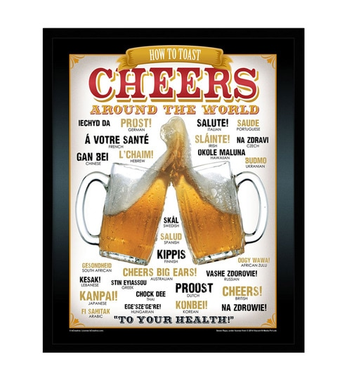 Paper & Fibre 13 x 1 x 17 Inch Cheers Around The World Beer Officially Licensed Framed Poster by bCreative