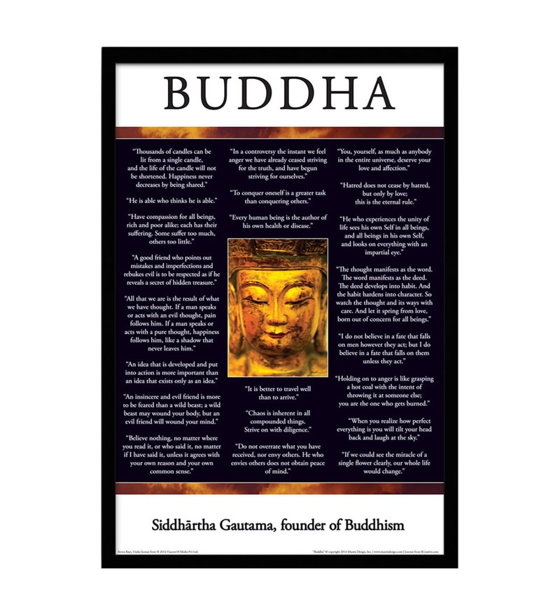 Paper & Fibre 13 x 1 x 19 Inch Buddha, Siddhartha Gautama Officially Licensed Framed Poster by bCreative