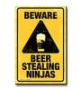 bCreative Multicolour MDF Beware Beer Steeling Ninja Fridge Magnet