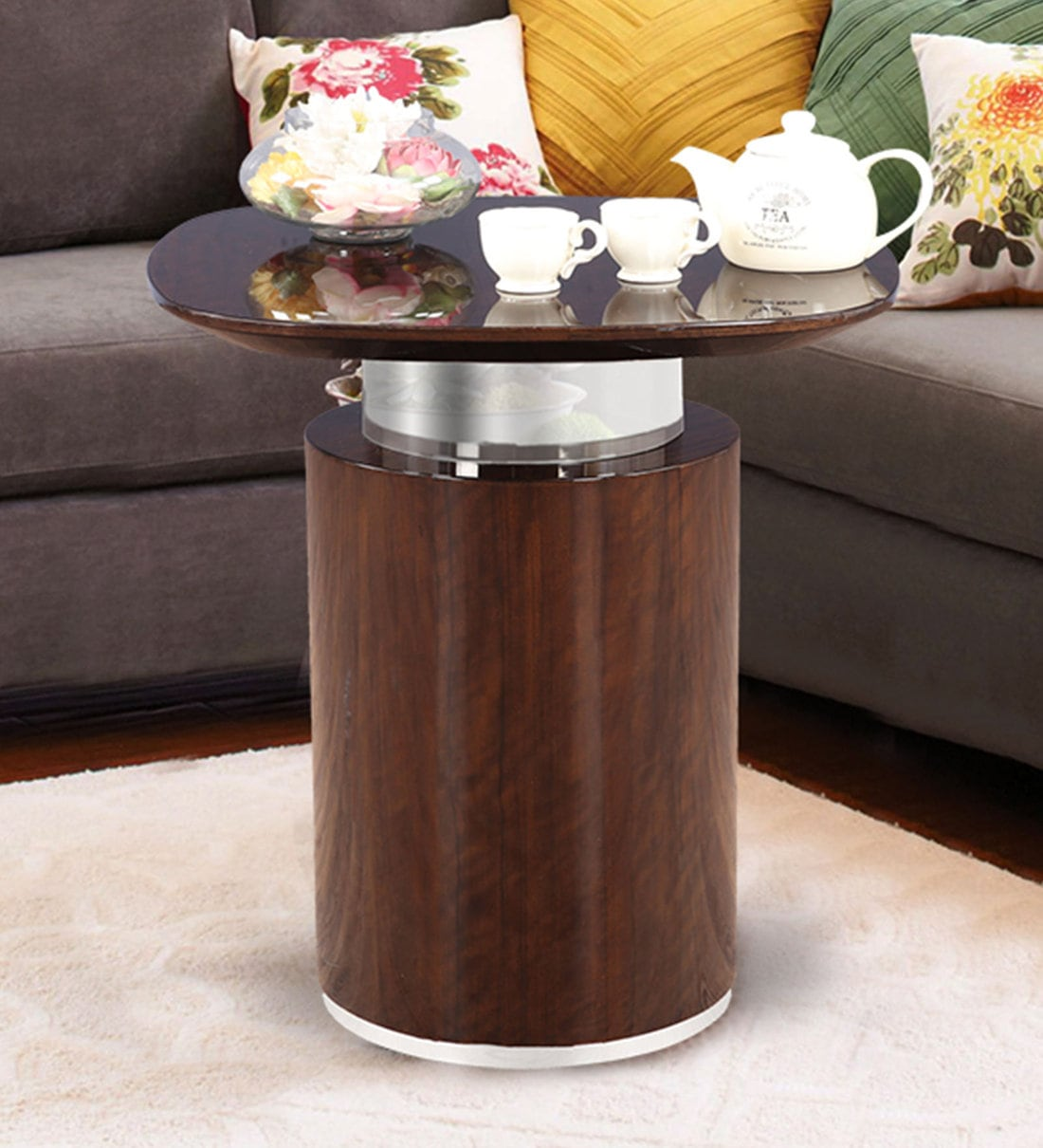 Buy Bernard End Table In Golden Teak Finish By Hometown Online Modern Night Stands Tables Furniture Pepperfry Product
