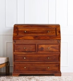 Beatrice Study Table cum Chest of Drawers in Honey Oak Finish